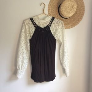 Michael Kors brown knit beaded top